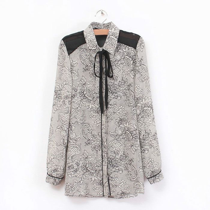 OL Style Turn-Down Collar Drawstring Dragon Print Single-Breasted Chiffon Shirt For Women