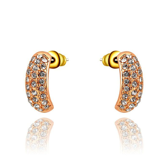 Pair of Alloy Diamante Golden Plated Earrings