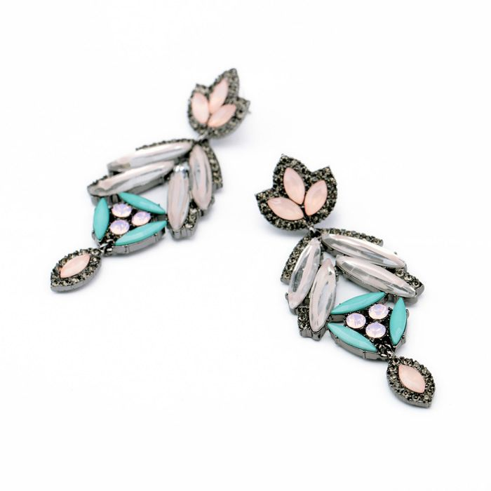 Pair of Alloy Rhinestoned Maple Leaf Shape Drop Earrings