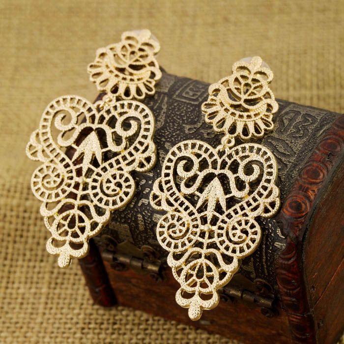 Pair of Bohemian Vintage Openwork Flower Vine Carving Drop Earrings