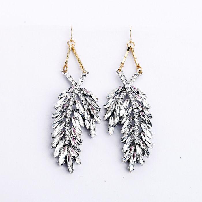 Pair of Alloy Faux Crystal Leaf Pendant Drop Earrings