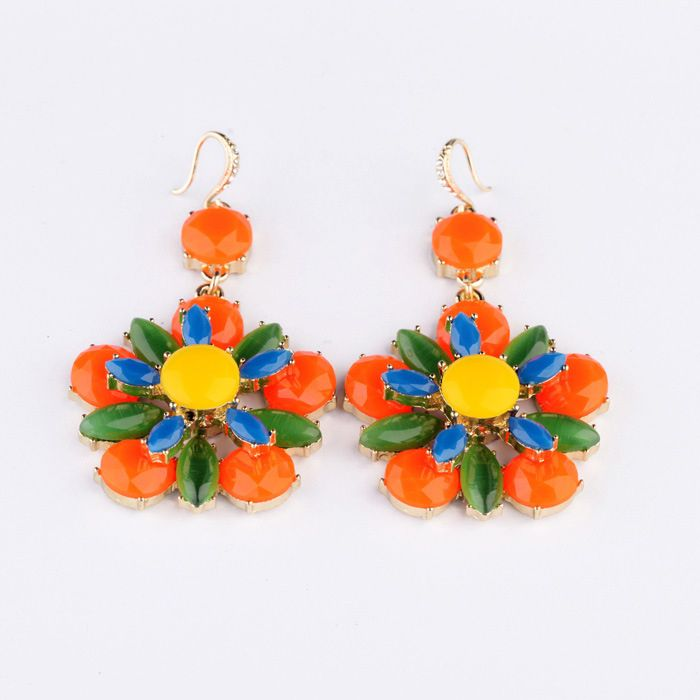 Pair of Vivid Polychrome Faux Gemstone Embellished Drop Earrings For Women