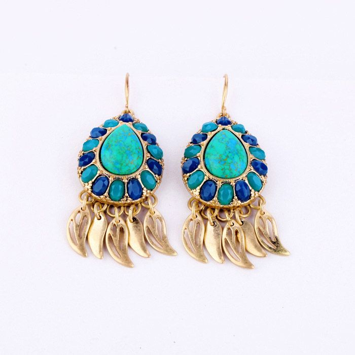Pair of Bohemian Small Leaf Pendant Faux Gemstone Earrings For Women
