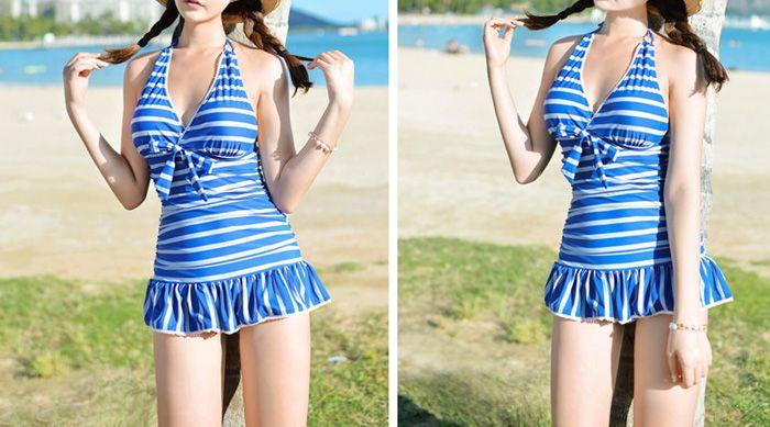 Stripe Halter Neck Ruffled One Piece Swimwear