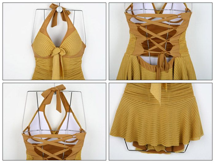 Halterneck Backless Lace Up Monokini Dress Swimwear