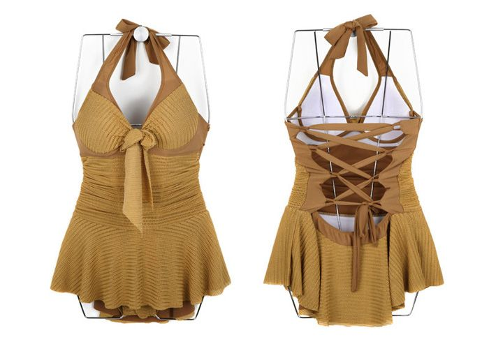 Halterneck Backless Lace Up Monokini Dress Swimwear