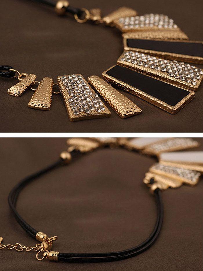 Diamante Geometric Pendant Hollow Necklace