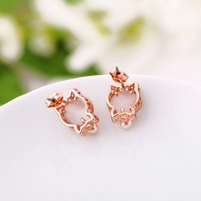 Pair of Cat Faux Opal Bead Stud Earrings