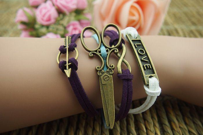 Retro Scissors Infinity Love Multilayered Charm Bracelet
