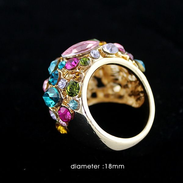 Statement Colorful Rhinestone Ring