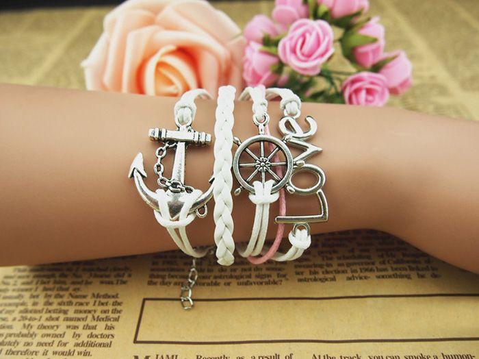 Anchor Helm Multilayered Charm Bracelet