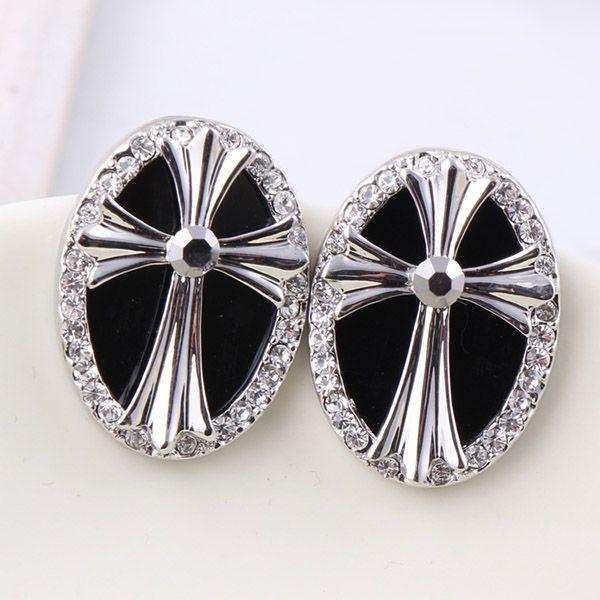 Pair of Punk Cross Rhinestone Ellipse Earrings For Women