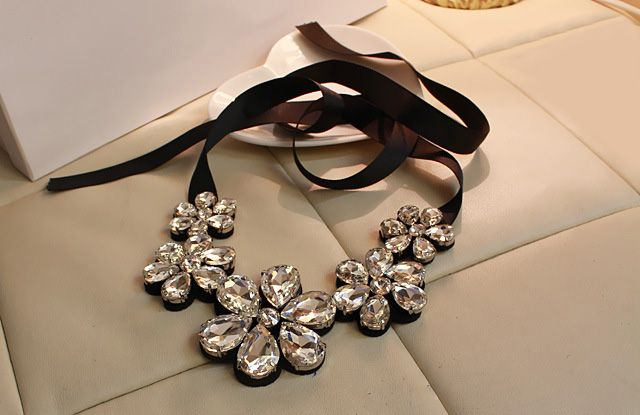 Faux Crystal Flower Statement Necklace