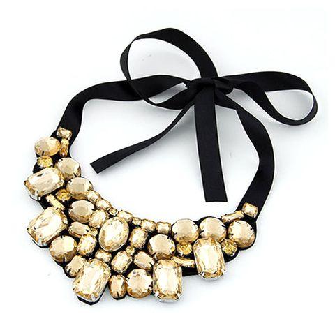Stylish Rhinestone Ribbon Lace Up Necklace For Women