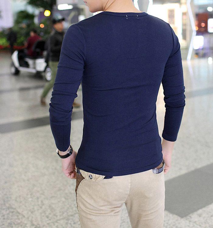 Slimming Fashion V-Neck Button Design Solid Color Long Sleeve Polyester T-shirt For Men