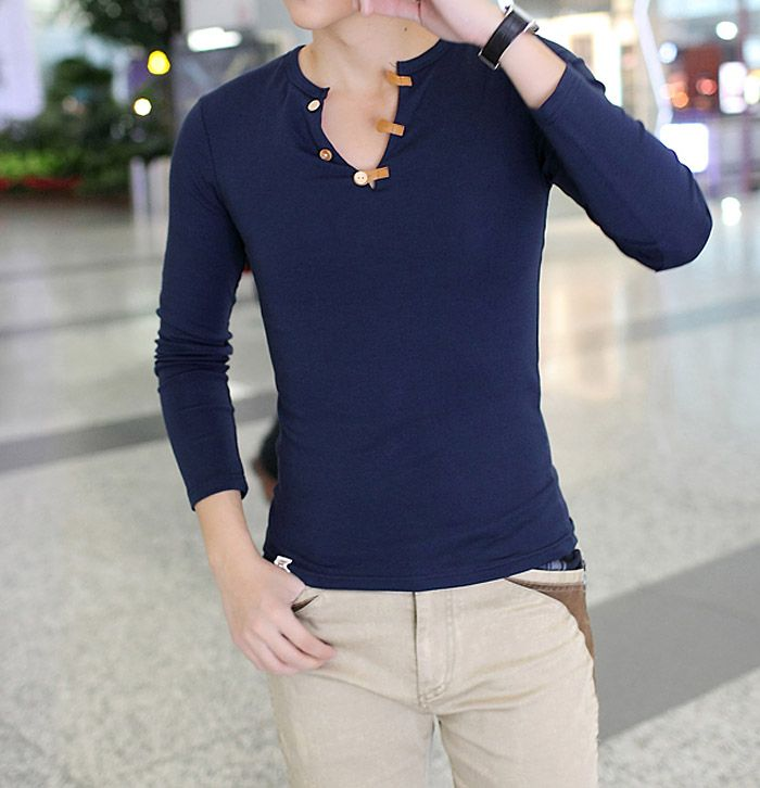 Slimming Fashion V-Neck Button Design Solid Color Long Sleeve Polyester T-shirt For Men