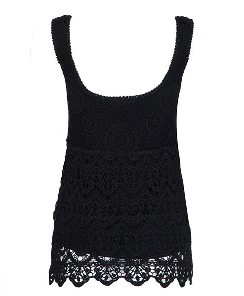 Slimming Crochet Scoop Neck Solid Color Sleeveless Women's Tank Top