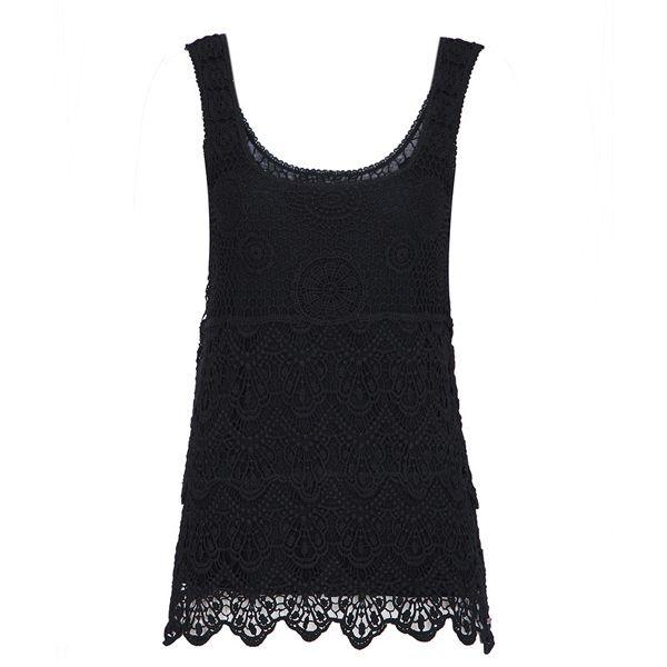 Slimming Crochet Scoop Neck Solid Color Sleeveless Women's Tank Top