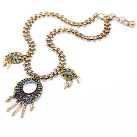 Vintage Colored Diamante Pendant Alloy Necklace For Women