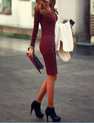 Solid Color Long Sleeve Simple Style V-Neck Cotton Packet Buttock Women's Dress
