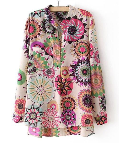 Vintage V-neck Colorful Floral Print Loose Fit Long Sleeves Women's Blouse