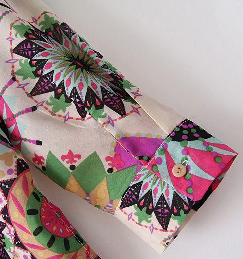 Vintage V-neck Colorful Floral Print Loose Fit Long Sleeves Women's Blouse