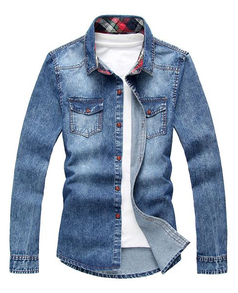 Slimming Stylish Shirt Collar Vertical Stripe Design Long Sleeve Denim Shirt For Men