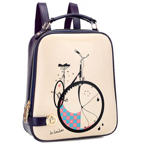 Trendy Bike Print and Color Block Design Women's Satchel
