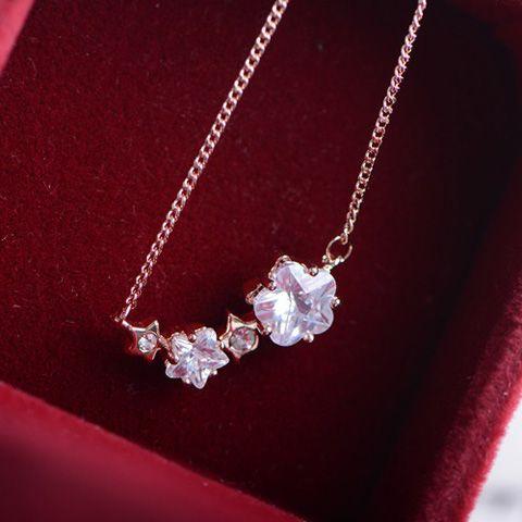 Brilliant Faux Gemstone Embellished Pendant Alloy Necklace For Women