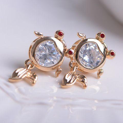 Pair of Faux Gemstone Fish Earrings