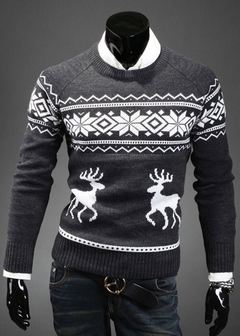 Fashion Scoop Neck Pullover Christmas Deer Printed Long Sleeve Cotton Blend Men's Sweater