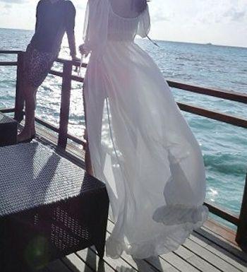 Lace Up Chiffon Long Cover-Up Beach Kimono Dress