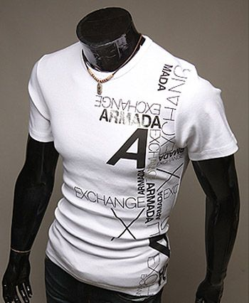 Slimming Trendy Round Neck Letter Print Short Sleeve Polyester T-shirt For Men