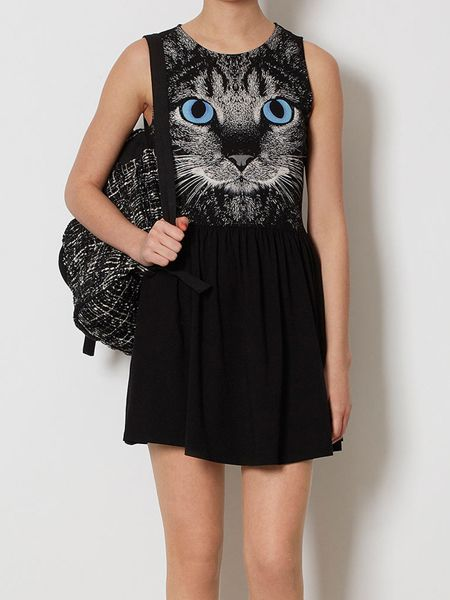Color Block Sleeveless Slimming Kitten Print Wide Hem Women's Dress