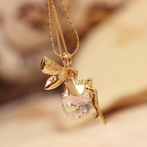 Fashion Glass Ball and Angel Pendant Sweater Chain Necklace For Women