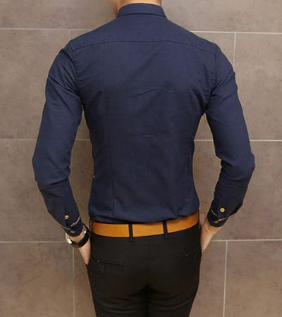 Slimming Trendy Shirt Collar Pocket Design Checked Stitching Long Sleeve Cotton Shirt For Men