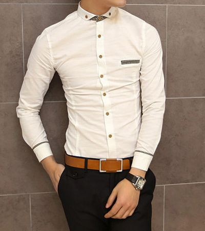 Slimming Trendy Shirt Collar Pocket Design Checked Stitching Long Sleeve Cotton Shirt For Men