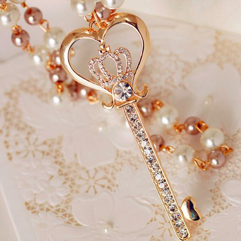 Chic Diamante Crown Embellished Key Pendant Sweater Chain Necklace For Women
