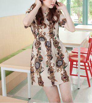 Retro Style Round Collar Short Sleeve Floral Print Women's Dress