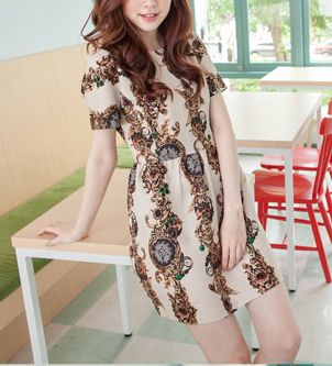 Retro Style Round Collar Short Sleeve Floral Print Women's Dress