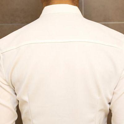 Slimming Trendy Shirt Collar Color Block Splicing Labeling Long Sleeve Cotton Shirt For Men