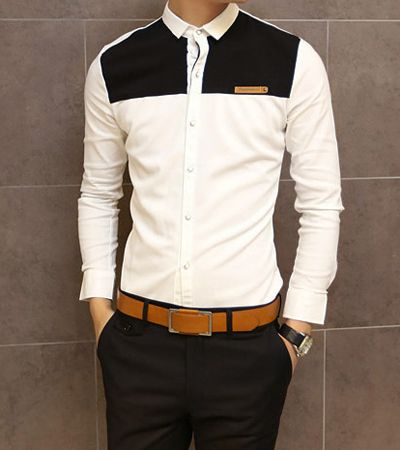 Slimming Trendy Shirt Collar Color Block Splicing Labeling Long Sleeve Cotton Shirt For Men