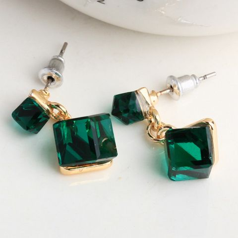 Pair of Alloy Faux Crystal Cube Earrings