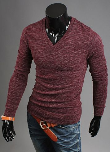 Korean Style V-Neck Solid Color Long Sleeves Cotton Blend Sweater For Men