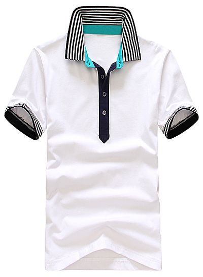 Slimming Trendy Turndown Collar Colorful Stripe Splicing Short Sleeve Cotton Polo Shirt For Men