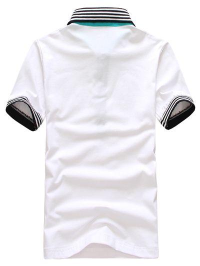 Slimming Trendy Turndown Collar Colorful Stripe Splicing Short Sleeve Cotton Polo Shirt For Men
