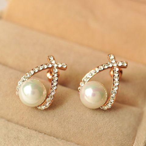 Pair of Diamante Cross Design Faux Pearl Earrings