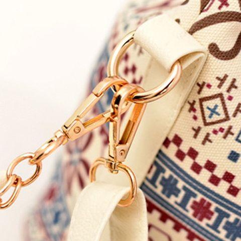 Bohemian Chains Print Bucket Shoulder Bag