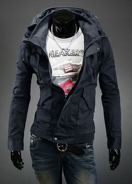 Stylish Slimming Double Stand Collar Solid Color Long Sleeves Men's Polyester Jacket