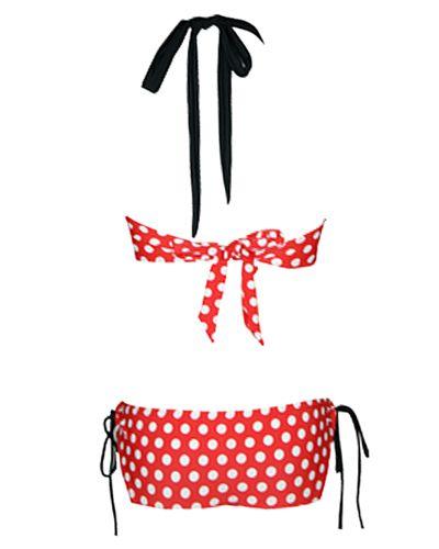 Vintage Halterneck Polka Dot Print Lace Up One Piece Women's Swimsuit